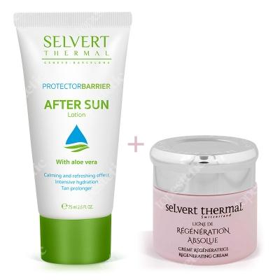 Selvert Thermal Regenerating Cream With Snail Protein Extract + After Sun Lotion ZESTAW Krem regenerujący z wyciągiem z białka ślimaka 50 ml + Balsam po opalaniu 75 ml