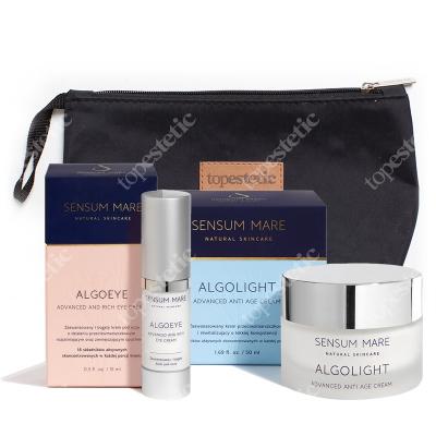 Sensum Mare AlgoEye & Algolight Cream ZESTAW Bogaty krem pod oczy 15 ml + Lekki krem przeciwzmarszczkowy 50 ml + Kosmetyczka