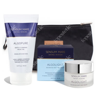 Sensum Mare Algolight Advanced Anti Age Cream + AlgoPure Gentle Cleansing Facial Gel ZESTAW Krem 50 ml + Żel do twarzy 150 ml + Kosmetyczka
