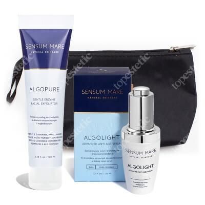Sensum Mare AlgoLight Advanced Anti Age Serum + AlgoPure Gentle Enzyme Facial Exfoliator ZESTAW Serum 35 ml + Peeling enzymatyczny 100 ml + Kosmetyczka