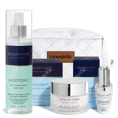 Sensum Mare AlgoLight Advanced Set ZESTAW Serum 35 ml + Krem rewitalizujący i przeciwzmarszczkowy 50 ml + Tonik 200 ml + Kosmetyczka
