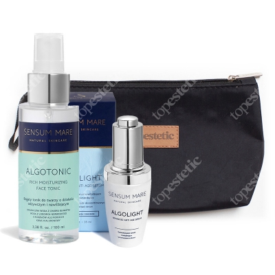 Sensum Mare AlgoLight Serum & AlgoTonic ZESTAW Serum przeciwzmarszczkowe 35 ml + Tonik do twarzy 100 ml + Kosmetyczka