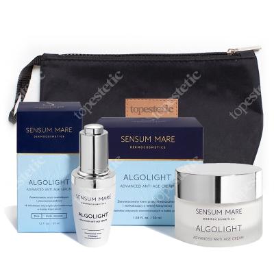 Sensum Mare AlgoLight Set ZESTAW Krem przeciwzmarszczkowy o lekkiej konsystencji 50 ml + Serum przeciwzmarszczkowe 35 ml + Kosmetyczka