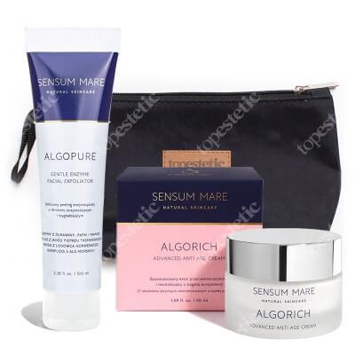 Sensum Mare Algorich Advanced Anti Age Cream + AlgoPure Gentle Enzyme Facial Exfoliator ZESTAW Krem 50 ml + Peeling 100 ml + Kosmetyczka