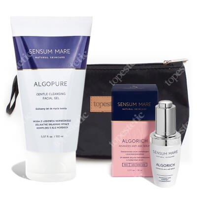 Sensum Mare AlgoRich Advanced Anti Age Serum + AlgoPure Gentle Cleansing Facial Gel ZESTAW Serum 35 ml + Żel do mycia twarzy 150 ml + Kosmetyczka