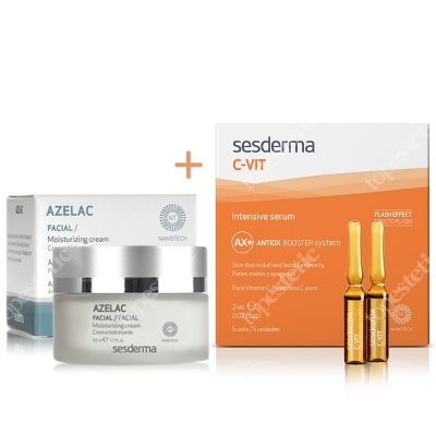 Sesderma Azelac Cream + C-VIT Intensive Serum ZESTAW Krem nawilżający do twarzy 50 ml + Intensywne Serum 12% Ampułki 5 x 2 ml