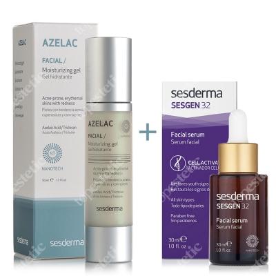 Sesderma Azelac Moisturizing Gel + Sesgen 32 Serum ZESTAW Żel nawilżający do twarzy 50 ml + Serum aktywujące komórki 30 ml