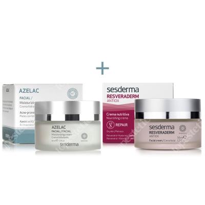 Sesderma Azelac + Resveraderm Facial Cream ZESTAW Krem nawilżający do twarzy 50 ml + Krem przeciwstarzeniowy 50 ml