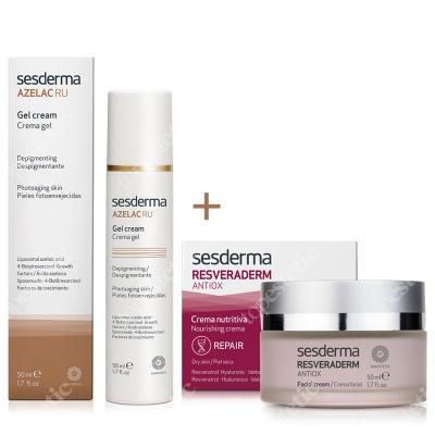 Sesderma Azelac RU Gel Cream + Resveraderm Facial Cream ZESTAW Krem-żel depigmentujący 50 ml + Krem przeciwstarzeniowy 50 ml