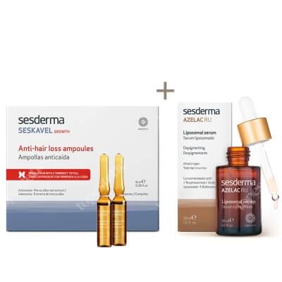 Sesderma Azelac RU + Seskavel Anti-Hair Loss Ampoules ZESTAW Serum liposomowe 30 ml + Ampułki przeciw wypadaniu włosów 12x8 ml