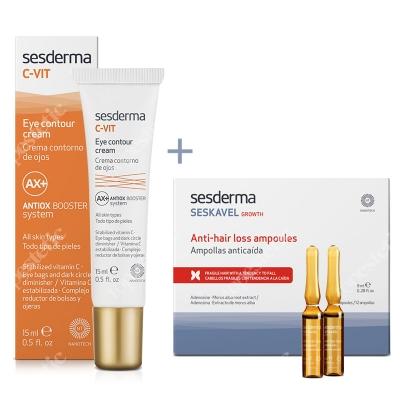 Sesderma C-VIT Eye Contour Cream + Seskavel Anti-Hair Loss Ampoules ZESTAW Krem pod oczy 15 ml + Ampułki przeciw wypadaniu włosów 12x8 ml