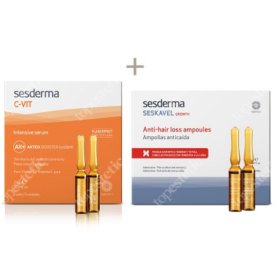 Sesderma C-VIT Intensive Serum + Seskavel Anti-Hair Loss Ampoules ZESTAW Intensywne Serum 12% Ampułki 5 x 2 ml + Ampułki przeciw wypadaniu włosów 12x8 ml