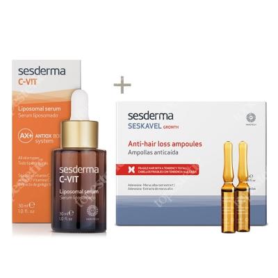 Sesderma C-VIT Liposomal Serum + Seskavel Anti-Hair Loss Ampoules ZESTAW Serum liposomowe 30 ml + Ampułki przeciw wypadaniu włosów 12x8 ml