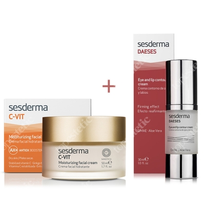 Sesderma C-VIT Moisturizing Facial Cream + Daeses Eye and Lip Contour Cream ZESTAW Krem nawilżający 50 ml + Krem kontur oczu i ust 30 ml