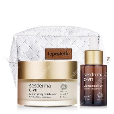 Sesderma C-VIT Moisturizing Facial Cream + Liposomal Serum + Kosmetyczka ZESTAW Krem nawilżający 50 ml + Serum liposomowe 30 ml + kosmetyczka