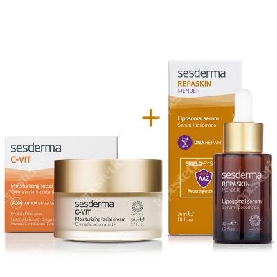 Sesderma C-VIT Moisturizing Facial Cream + Repaskin Mender Serum 30ml ZESTAW Krem nawilżający 50 ml + Serum 30ml