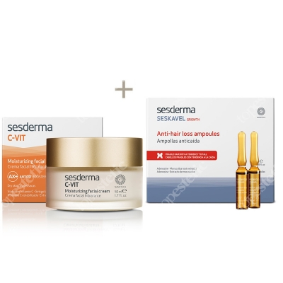 Sesderma C-VIT Moisturizing Facial Cream + Seskavel Anti-Hair Loss Ampoules ZESTAW Krem nawilżający 50 ml + Ampułki przeciw wypadaniu włosów 12x8 ml
