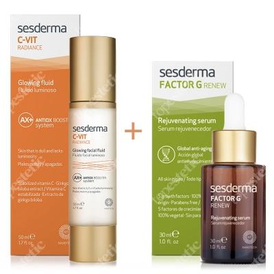 Sesderma C-VIT Radiance + Factor G Rejuvenating Serum ZESTAW Krem rozświetlający 50 ml + Serum z pęcherzykami lipidowymi 30 ml