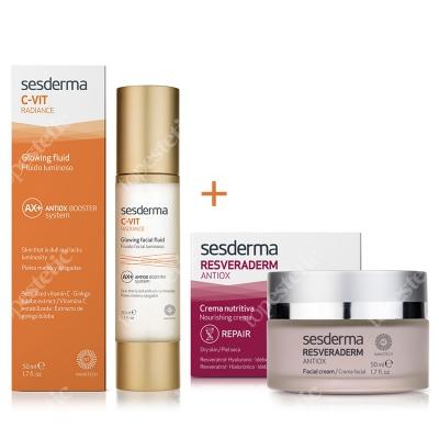 Sesderma C-VIT Radiance + Resveraderm Facial Cream ZESTAW Krem rozświetlający 50 ml + Krem przeciwstarzeniowy 50 ml