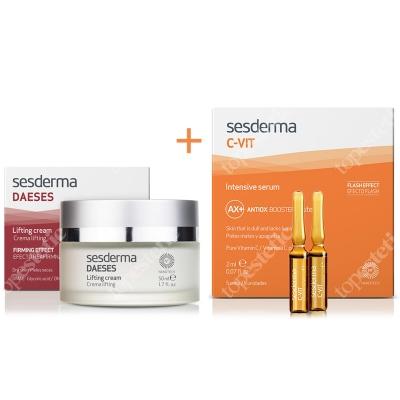 Sesderma Daeses Lifting Cream + C-VIT Intensive Serum ZESTAW Krem liftingujący 50 ml + Intensywne Serum 12% Ampułki 5 x 2 ml