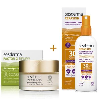 Sesderma Factor G - Rejuvenating Cream + Repaskin Transparent Spray ZESTAW Regenerujący krem przeciwstarzeniowy 50 ml + Wysoka ochrona przeciwsłoneczna SPF 30 200 ml