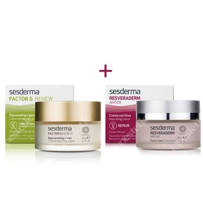 Sesderma Factor G - Rejuvenating Cream + Resveraderm Facial Cream ZESTAW Regenerujący krem przeciwstarzeniowy 50 ml + Krem przeciwstarzeniowy 50 ml