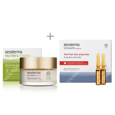 Sesderma Factor G - Rejuvenating Cream + Seskavel Anti-Hair Loss Ampoules ZESTAW Regenerujący krem przeciwstarzeniowy 50 ml + Ampułki przeciw wypadaniu włosów 12x8 ml