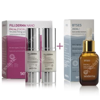 Sesderma Fillderma Nano + BTSeS ZESTAW System wypełniania zmarszczek 30+30 ml + Nawilżające serum przeciwzmarszczkowe 30 ml