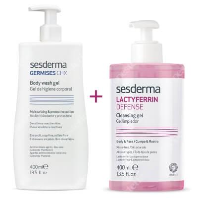 Sesderma Germises CHX Body Wash Gel + Lactyferrin Defense Cleansing Gel ZESTAW Higiena Ciała 400 ml + Żel Oczyszczający 400 ml