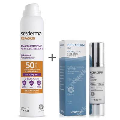 Sesderma Hidraderm Hyal + Repaskin Transparent Spray Aerosol SPF 50+ ZESTAW Krem do twarzy 50 ml + Spray przeciwsłoneczny do ciała 200 ml