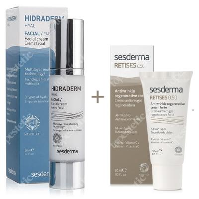Sesderma Hidraderm Hyal + Retises 0,5% ZESTAW Krem do twarzy 50 ml + Regenerujący krem przeciwzmarszczkowy 30 ml