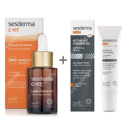 Sesderma MEN N9 Active Eye Contour Gel + C-VIT Liposomal Serum ZESTAW Żel pod oczy dla mężczyzn 15 ml + Serum liposomowe 30 ml
