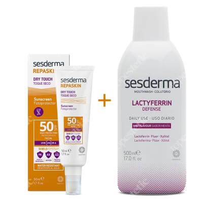 Sesderma Repaskin Dry Touch SPF 50 + Lactyferrin Mouth Wash ZESTAW Krem ochronny SPF50 nowa formuła 50 ml + Płyn do płukania ust 500 ml