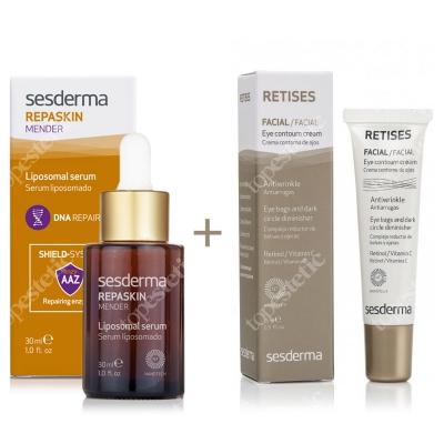 Sesderma Repaskin Mender Serum 30ml + Retises 0,05% ZESTAW Serum 30ml + Przeciwzmarszczkowy krem pod oczy 15 ml