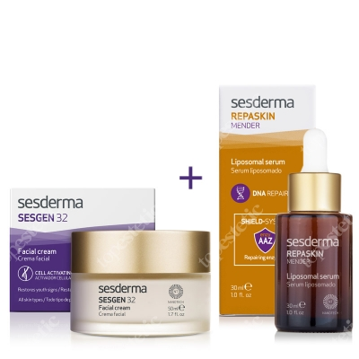 Sesderma Repaskin Mender Serum + Sesgen 32 Cream ZESTAW Serum 30ml + Krem odżywczy aktywujący komórki 50 ml