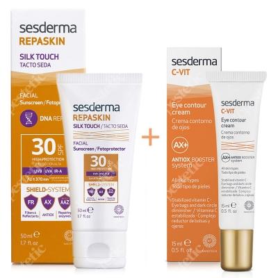 Sesderma Repaskin Silk Touch SPF 30 + C-VIT Eye Contour Cream ZESTAW Wysoka ochrona przeciwsłoneczna SPF 30 50 ml + Krem pod oczy 15 ml