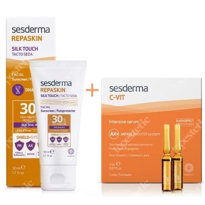 Sesderma Repaskin Silk Touch SPF 30 + C-VIT Intensive Serum ZESTAW Wysoka ochrona przeciwsłoneczna SPF 30 50 ml + Intensywne Serum 12% Ampułki 5 x 2 ml