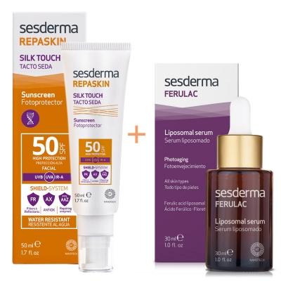 Sesderma Repaskin Silk Touch SPF 50 + Ferulac Liposomal Serum ZESTAW Krem liposomowy SPF 50 50 ml + Serum liposomowe 30 ml