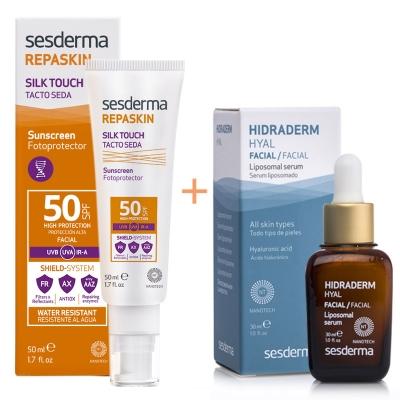 Sesderma Repaskin Silk Touch SPF 50 + Hidraderm Hyal Liposomal Serum ZESTAW Krem liposomowy SPF 50 50 ml + Serum 30 ml
