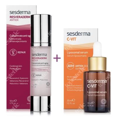 Sesderma Resveraderm Concentrate Anti Aging + C-VIT Liposomal Serum ZESTAW Krem-żel przeciwstarzeniowy 50 ml + Serum liposomowe 30 ml