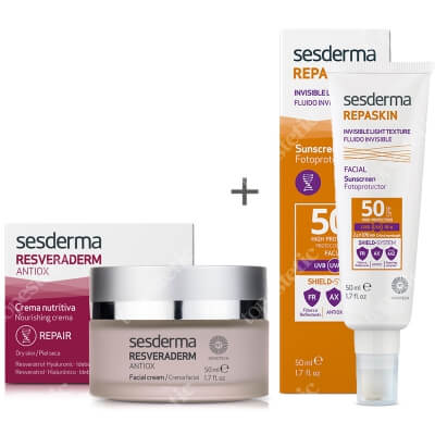 Sesderma Resveraderm Facial Cream + Repaskin Fluido Invisible ZESTAW Krem przeciwstarzeniowy 50 ml + Krem-żel SPF50 50 ml
