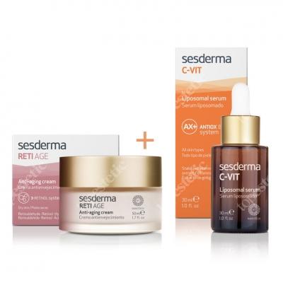 Sesderma Reti Age Cream Anti Aging + C-VIT Liposomal Serum ZESTAW Krem przeciwzmarszczkowy 50 ml + Serum liposomowe 30 ml