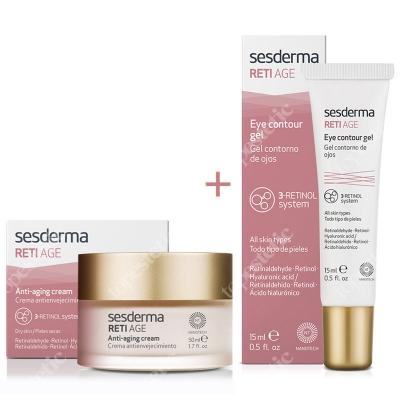 Sesderma Reti Age Cream Anti Aging + Eye Contour Gel ZESTAW Krem przeciwzmarszczkowy 50 ml + Krem kontur oczu 15 ml