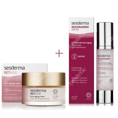 Sesderma Reti Age Cream Anti Aging + Resveraderm Antiox Concentrate Anti Aging ZESTAW Krem przeciwzmarszczkowy 50 ml + Krem-żel przeciwstarzeniowy 50 ml