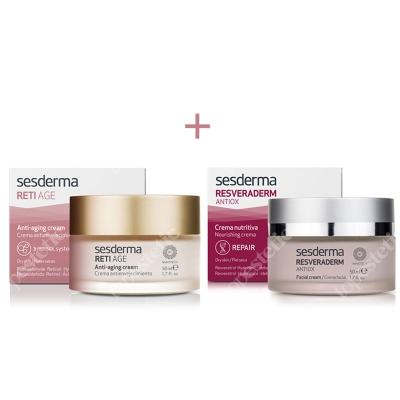 Sesderma Reti Age Cream Anti Aging + Resveraderm Facial Cream ZESTAW Krem przeciwzmarszczkowy 50 ml + Krem przeciwstarzeniowy 50 ml