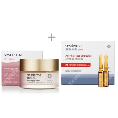 Sesderma Reti Age Cream Anti Aging + Seskavel Anti-Hair Loss Ampoules ZESTAW Krem przeciwzmarszczkowy 50 ml + Ampułki przeciw wypadaniu włosów 12x8 ml