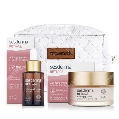 Sesderma Reti Age Cream + Reti Age Serum + Kosmetyczka ZESTAW Krem przeciwzmarszczkowy 50 ml + Serum przeciwzmarszczkowe 30 ml + Kosmetyczka