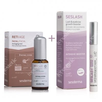 Sesderma Reti Age Mist + Seslash ZESTAW Mgiełka przeciwzmarszczkowa + Serum aktywujące wzrost rzęs i brwi 20 ml, 5 ml