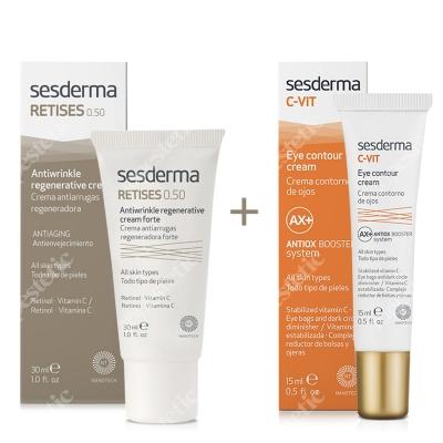 Sesderma Retises 0,5% + C-VIT Eye Contour Cream ZESTAW Regenerujący krem przeciwzmarszczkowy 30 ml + Krem pod oczy 15 ml