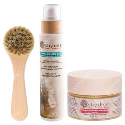 Shy Deer Face Mask Beauty + Emulsion + Face Clean Brush ZESTAW Maseczka do twarzy na dzień 50 ml + Emulsja 200 ml + Szczoteczka do oczyszczania i masażu 1 szt